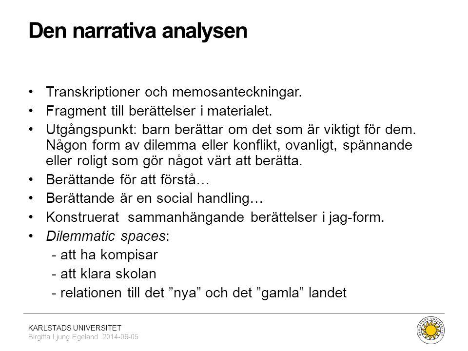 KARLSTADS UNIVERSITET Birgitta Ljung Egeland 2014-06-05 Den narrativa analysen •Transkriptioner och memosanteckningar. •Fragment till berättelser i ma