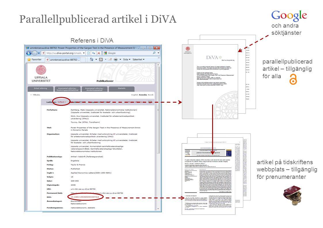 Referens i DiVA parallellpublicerad artikel – tillgänglig för alla Parallellpublicerad artikel i DiVA och andra söktjänster artikel på tidskriftens webbplats – tillgänglig för prenumeranter