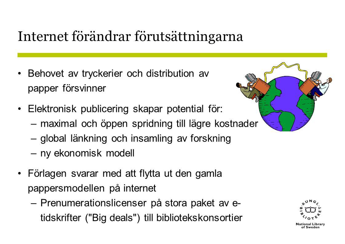 Internet förändrar förutsättningarna •Behovet av tryckerier och distribution av papper försvinner •Elektronisk publicering skapar potential för: –maximal och öppen spridning till lägre kostnader –global länkning och insamling av forskning –ny ekonomisk modell •Förlagen svarar med att flytta ut den gamla pappersmodellen på internet –Prenumerationslicenser på stora paket av e- tidskrifter ( Big deals ) till bibliotekskonsortier