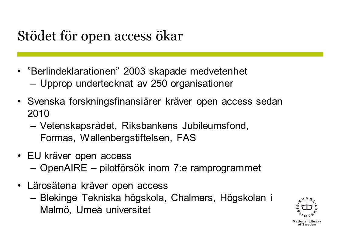 Stödet för open access ökar • Berlindeklarationen 2003 skapade medvetenhet –Upprop undertecknat av 250 organisationer •Svenska forskningsfinansiärer kräver open access sedan 2010 –Vetenskapsrådet, Riksbankens Jubileumsfond, Formas, Wallenbergstiftelsen, FAS •EU kräver open access –OpenAIRE – pilotförsök inom 7:e ramprogrammet •Lärosätena kräver open access –Blekinge Tekniska högskola, Chalmers, Högskolan i Malmö, Umeå universitet