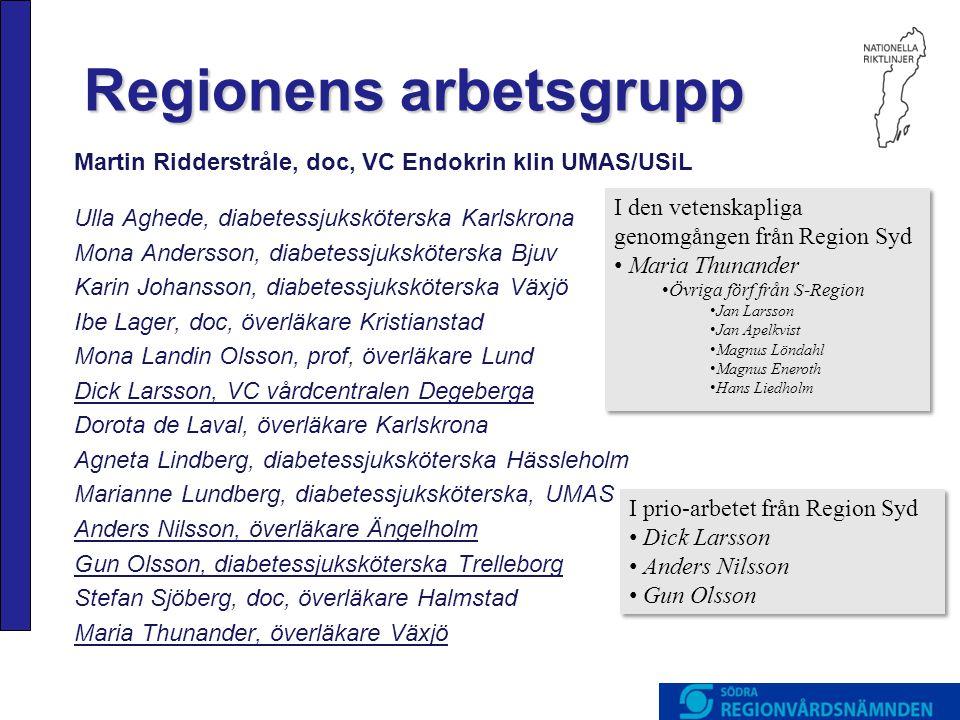 Regionens arbetsgrupp Martin Ridderstråle, doc, VC Endokrin klin UMAS/USiL Ulla Aghede, diabetessjuksköterska Karlskrona Mona Andersson, diabetessjuks