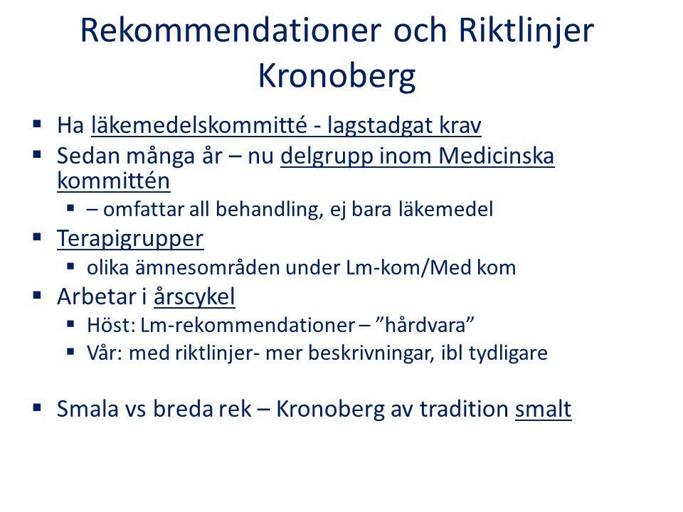 Rekommendationer och Riktlinjer Kronoberg  Ha läkemedelskommitté - lagstadgat krav  Sedan många år – nu delgrupp inom Medicinska kommittén  – omfat