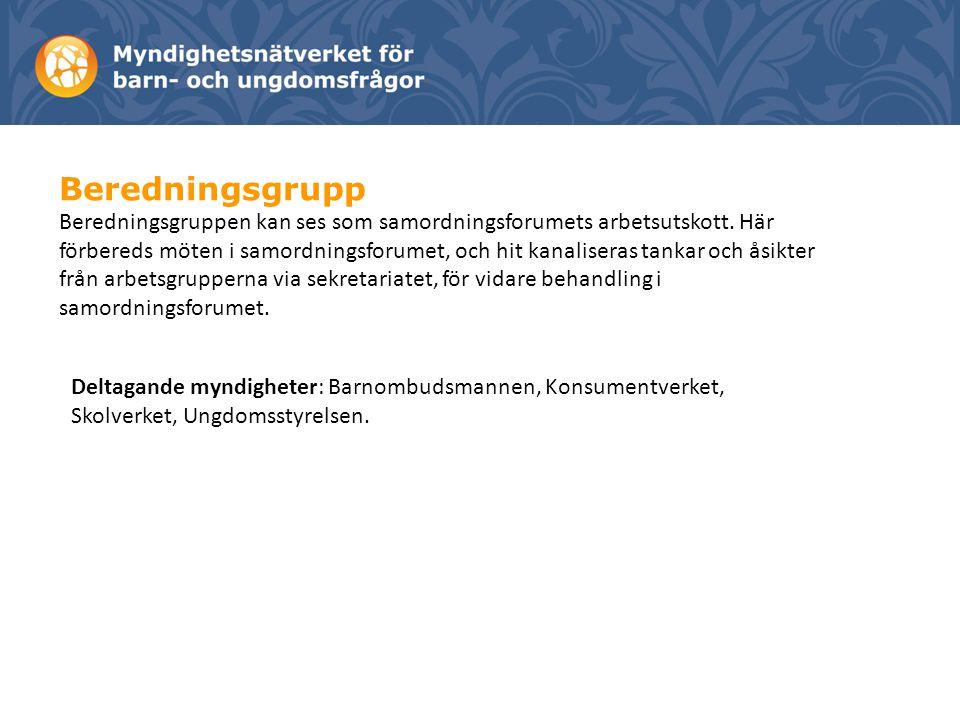 Beredningsgrupp Beredningsgruppen kan ses som samordningsforumets arbetsutskott.