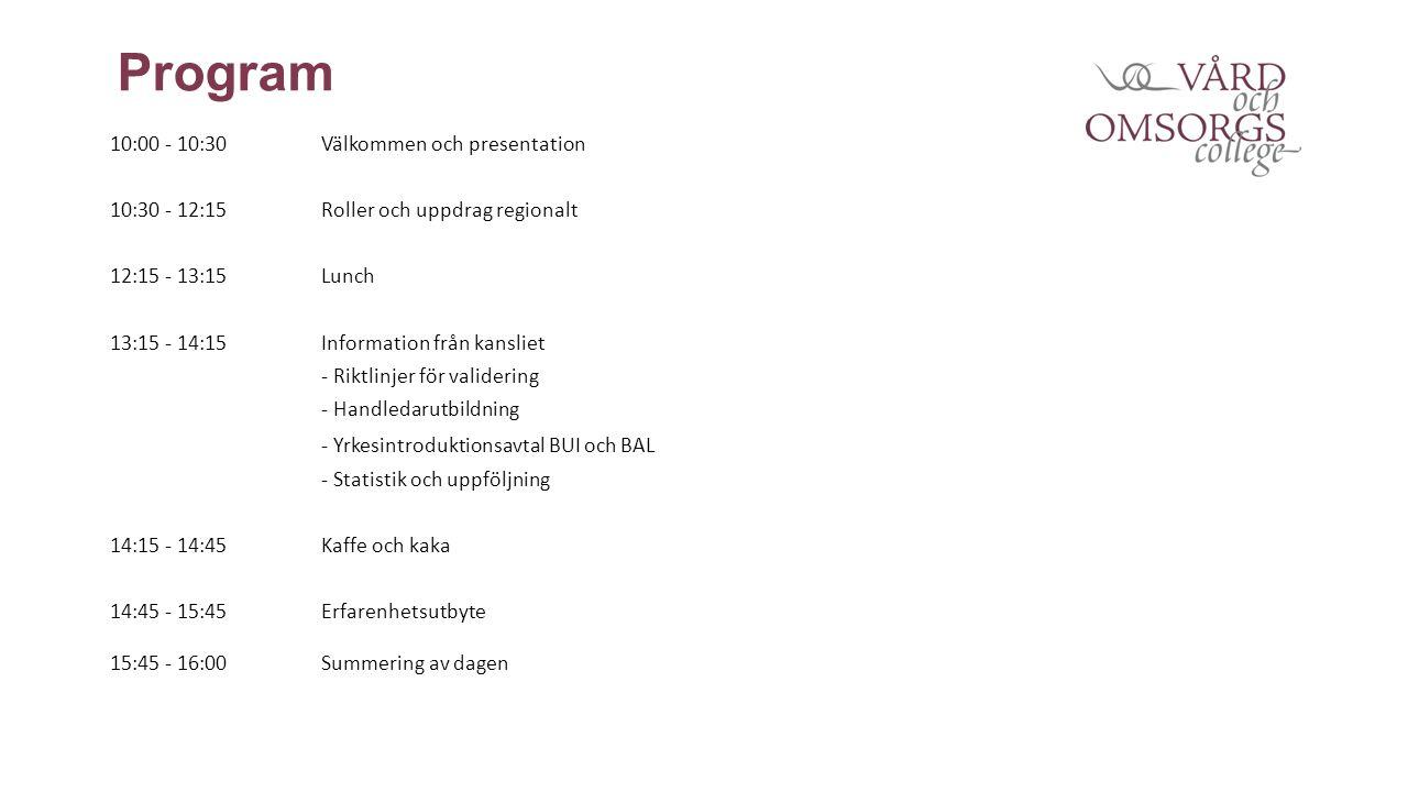 Program 10:00 - 10:30Välkommen och presentation 10:30 - 12:15Roller och uppdrag regionalt 12:15 - 13:15Lunch 13:15 - 14:15Information från kansliet - Riktlinjer för validering - Handledarutbildning - Yrkesintroduktionsavtal BUI och BAL - Statistik och uppföljning 14:15 - 14:45Kaffe och kaka 14:45 - 15:45Erfarenhetsutbyte 15:45 - 16:00Summering av dagen