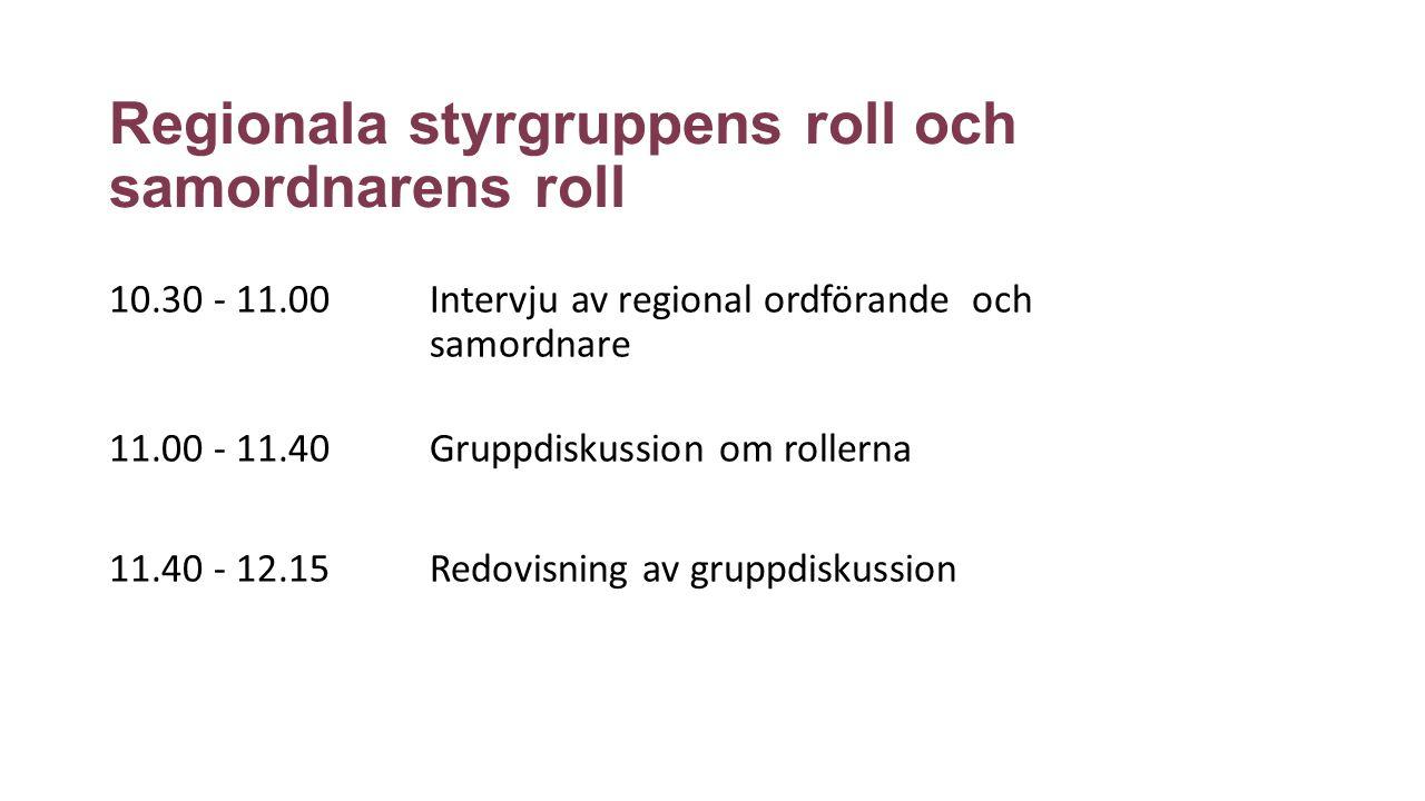 Regionala styrgruppens roll och samordnarens roll 10.30 - 11.00 Intervju av regional ordförande och samordnare 11.00 - 11.40 Gruppdiskussion om rollerna 11.40 - 12.15 Redovisning av gruppdiskussion