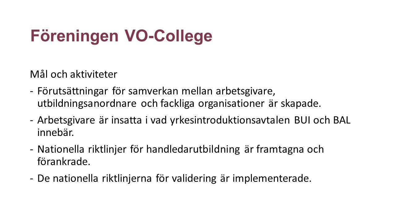 Föreningen VO-College Mål och aktiviteter -Utbildare som verkar nationellt kan få en nationell förcertifiering.
