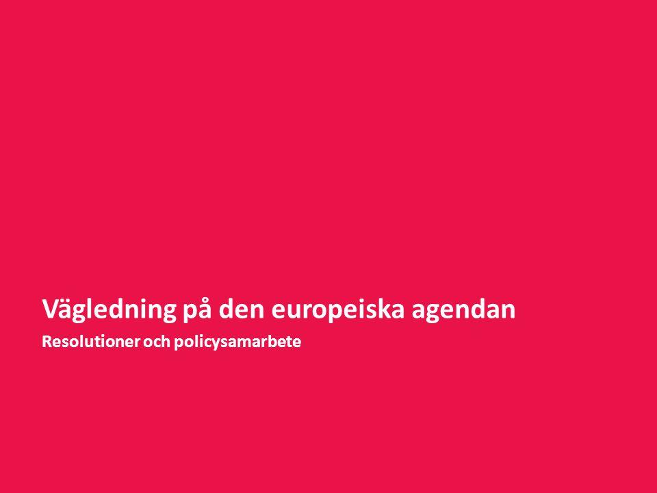 Vägledning på den europeiska agendan Resolutioner och policysamarbete