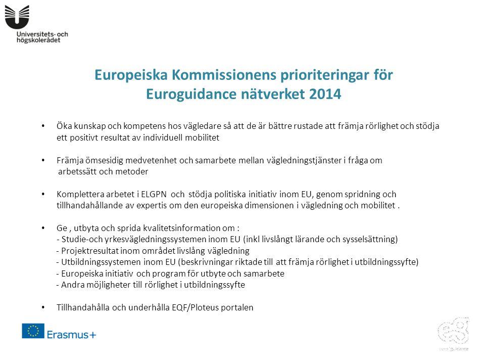 Europeiska Kommissionens prioriteringar för Euroguidance nätverket 2014 • Öka kunskap och kompetens hos vägledare så att de är bättre rustade att främja rörlighet och stödja ett positivt resultat av individuell mobilitet • Främja ömsesidig medvetenhet och samarbete mellan vägledningstjänster i fråga om arbetssätt och metoder • Komplettera arbetet i ELGPN och stödja politiska initiativ inom EU, genom spridning och tillhandahållande av expertis om den europeiska dimensionen i vägledning och mobilitet.