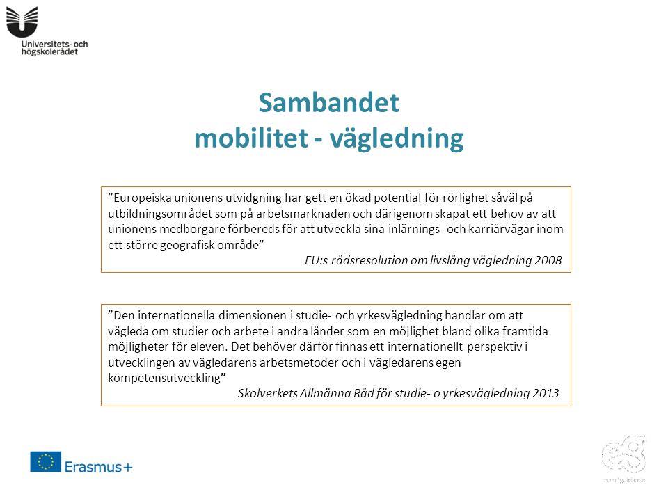 Sambandet mobilitet - vägledning Europeiska unionens utvidgning har gett en ökad potential för rörlighet såväl på utbildningsområdet som på arbetsmarknaden och därigenom skapat ett behov av att unionens medborgare förbereds för att utveckla sina inlärnings- och karriärvägar inom ett större geografisk område EU:s rådsresolution om livslång vägledning 2008 Den internationella dimensionen i studie- och yrkesvägledning handlar om att vägleda om studier och arbete i andra länder som en möjlighet bland olika framtida möjligheter för eleven.