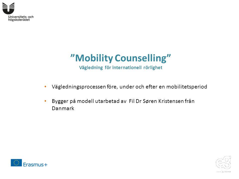 Mobility Counselling Vägledning för internationell rörlighet • Vägledningsprocessen före, under och efter en mobilitetsperiod • Bygger på modell utarbetad av Fil Dr Søren Kristensen från Danmark
