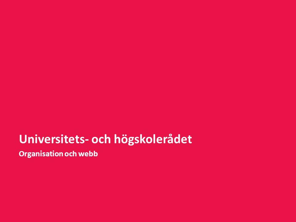 Universitets- och högskolerådet Organisation och webb