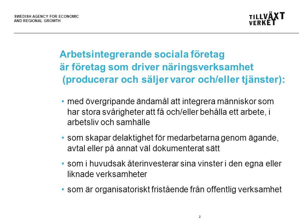 SWEDISH AGENCY FOR ECONOMIC AND REGIONAL GROWTH Arbetsintegrerande sociala företag är företag som driver näringsverksamhet (producerar och säljer varor och/eller tjänster): •med övergripande ändamål att integrera människor som har stora svårigheter att få och/eller behålla ett arbete, i arbetsliv och samhälle •som skapar delaktighet för medarbetarna genom ägande, avtal eller på annat väl dokumenterat sätt •som i huvudsak återinvesterar sina vinster i den egna eller liknade verksamheter •som är organisatoriskt fristående från offentlig verksamhet 2