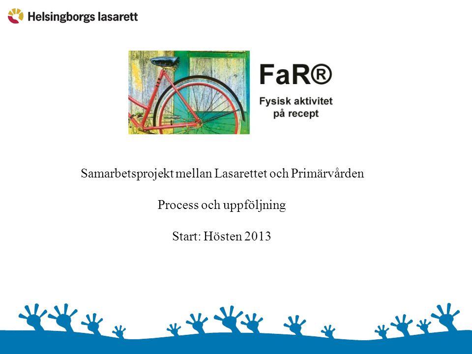 Samarbetsprojekt mellan Lasarettet och Primärvården Process och uppföljning Start: Hösten 2013