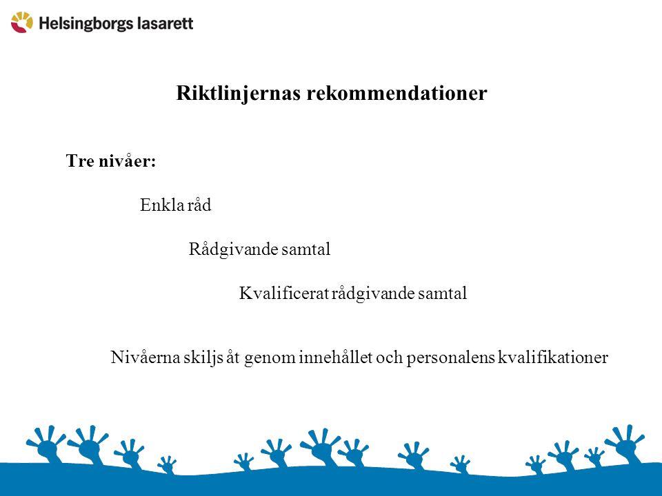 Riktlinjernas rekommendationer Tre nivåer: Enkla råd Rådgivande samtal Kvalificerat rådgivande samtal Nivåerna skiljs åt genom innehållet och personal