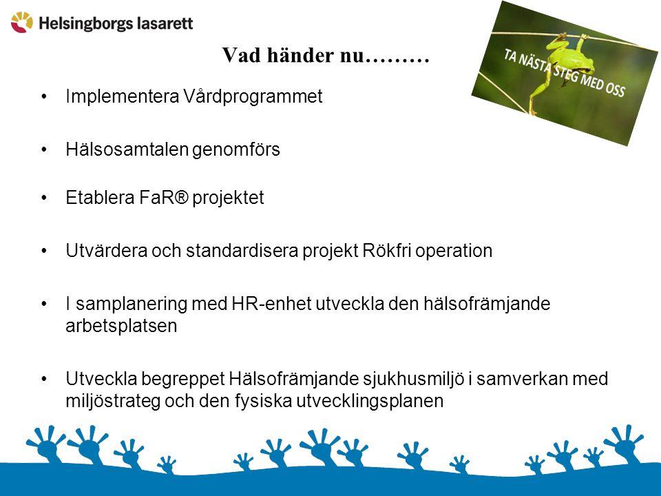 Vad händer nu……… •Implementera Vårdprogrammet •Hälsosamtalen genomförs •Etablera FaR® projektet •Utvärdera och standardisera projekt Rökfri operation