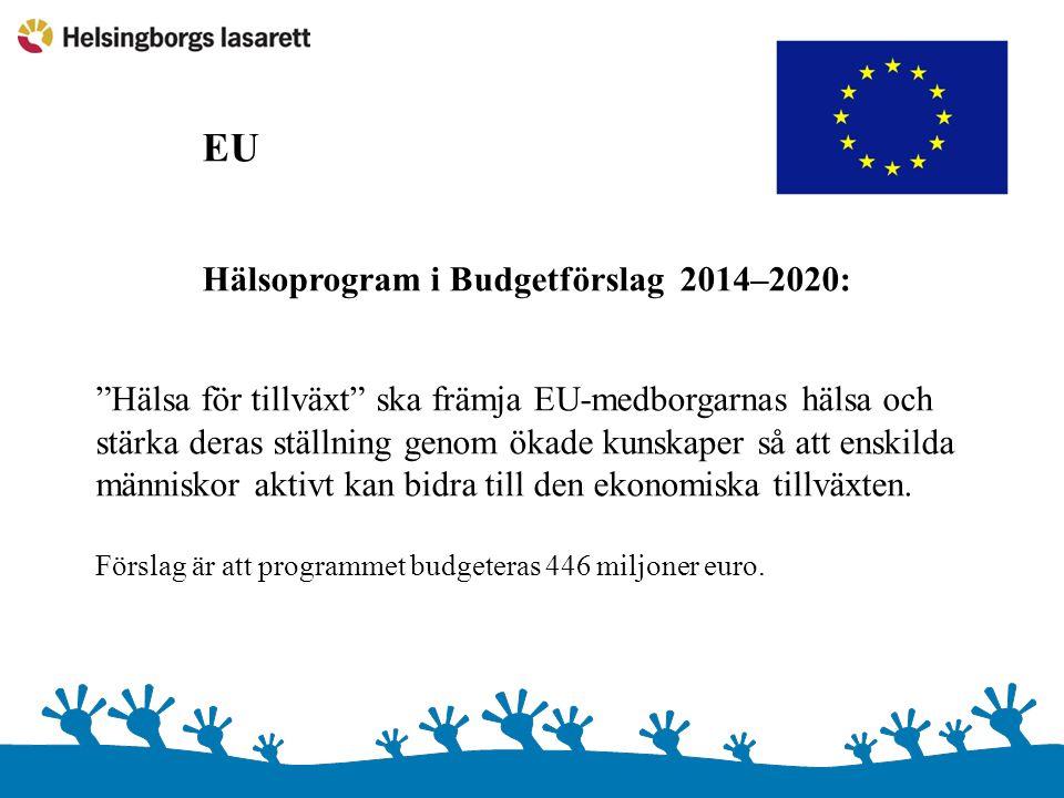 """EU Hälsoprogram i Budgetförslag 2014–2020: """"Hälsa för tillväxt"""" ska främja EU-medborgarnas hälsa och stärka deras ställning genom ökade kunskaper så a"""