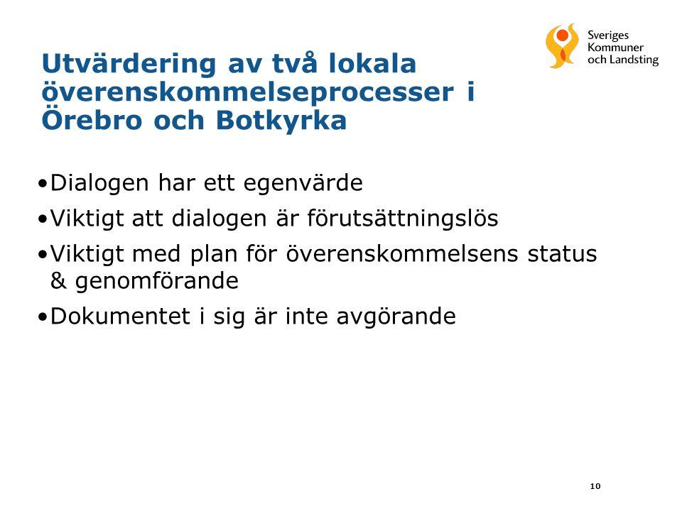 Utvärdering av två lokala överenskommelseprocesser i Örebro och Botkyrka •Dialogen har ett egenvärde •Viktigt att dialogen är förutsättningslös •Viktigt med plan för överenskommelsens status & genomförande •Dokumentet i sig är inte avgörande 10