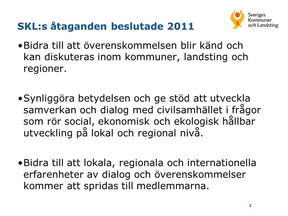SKL:s åtaganden beslutade 2011 •Bidra till att överenskommelsen blir känd och kan diskuteras inom kommuner, landsting och regioner. •Synliggöra betyde