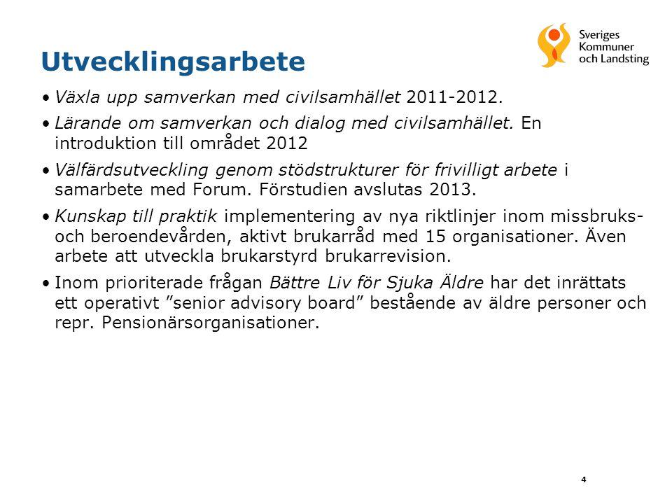 Utvecklingsarbete •Växla upp samverkan med civilsamhället 2011-2012. •Lärande om samverkan och dialog med civilsamhället. En introduktion till området