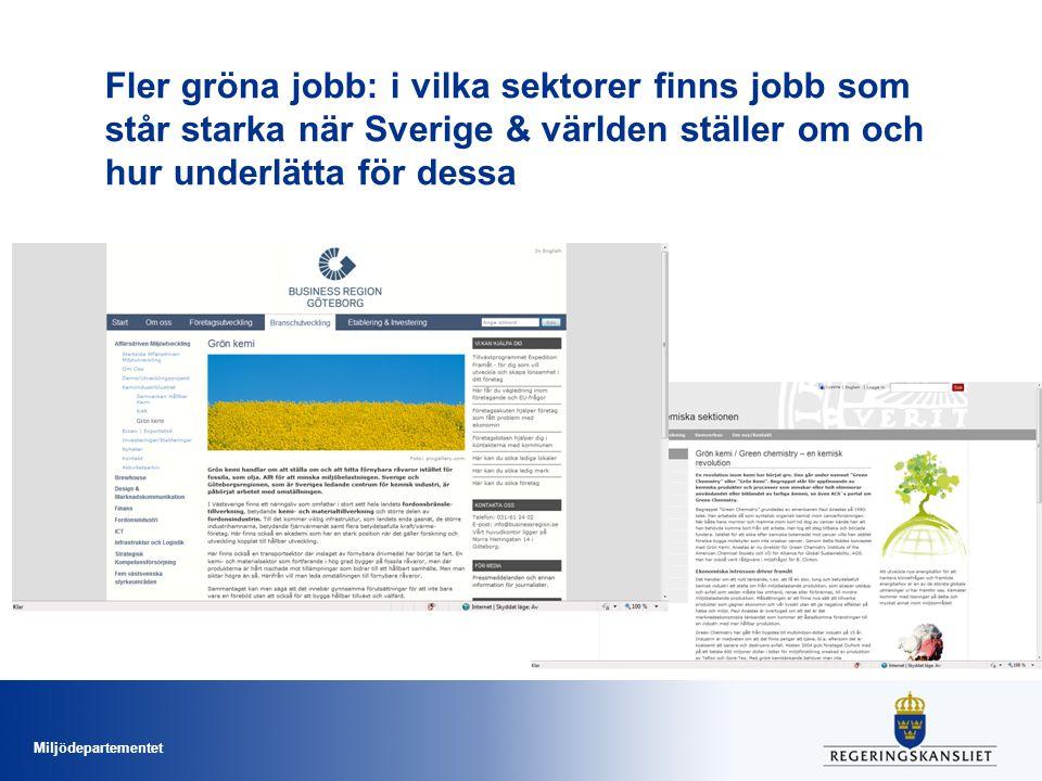 Miljödepartementet Fler gröna jobb: i vilka sektorer finns jobb som står starka när Sverige & världen ställer om och hur underlätta för dessa