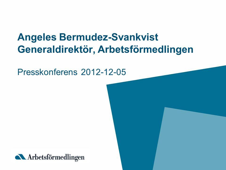 Angeles Bermudez-Svankvist Generaldirektör, Arbetsförmedlingen Presskonferens 2012-12-05