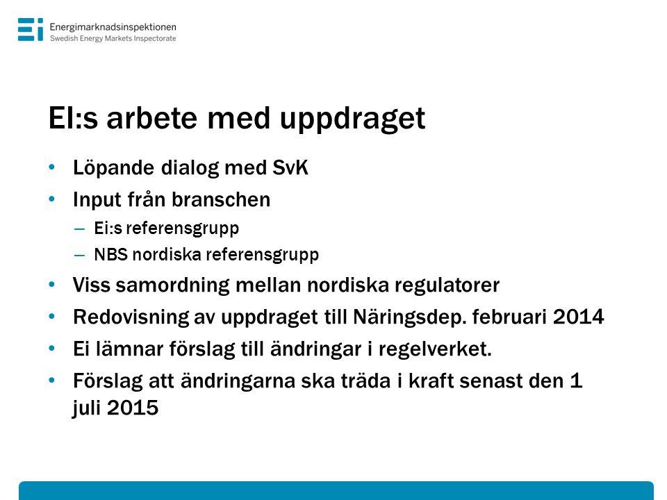 EI:s arbete med uppdraget • Löpande dialog med SvK • Input från branschen – Ei:s referensgrupp – NBS nordiska referensgrupp • Viss samordning mellan n