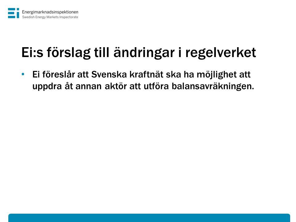 Ei:s förslag till ändringar i regelverket • Ei föreslår att Svenska kraftnät ska ha möjlighet att uppdra åt annan aktör att utföra balansavräkningen.