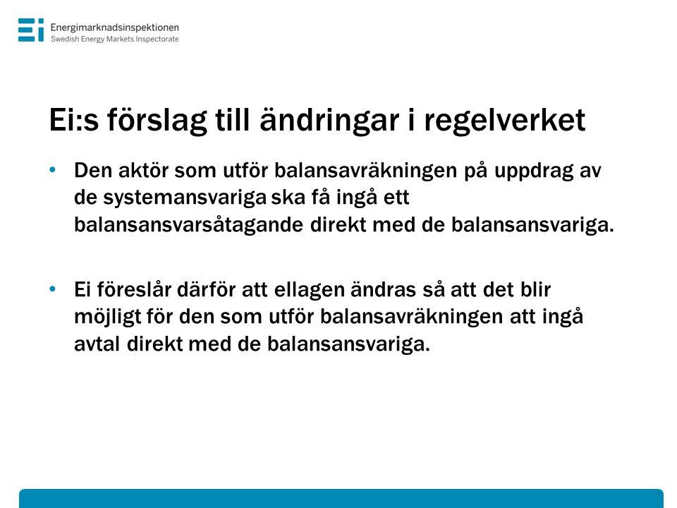 Ei:s förslag till ändringar i regelverket • Den aktör som utför balansavräkningen på uppdrag av de systemansvariga ska få ingå ett balansansvarsåtagan
