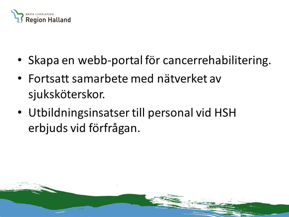• Skapa en webb-portal för cancerrehabilitering. • Fortsatt samarbete med nätverket av sjuksköterskor. • Utbildningsinsatser till personal vid HSH erb