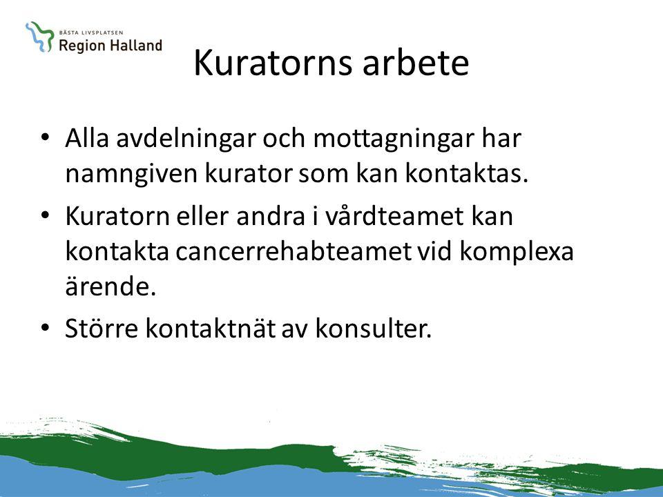 Kuratorns arbete • Alla avdelningar och mottagningar har namngiven kurator som kan kontaktas. • Kuratorn eller andra i vårdteamet kan kontakta cancerr