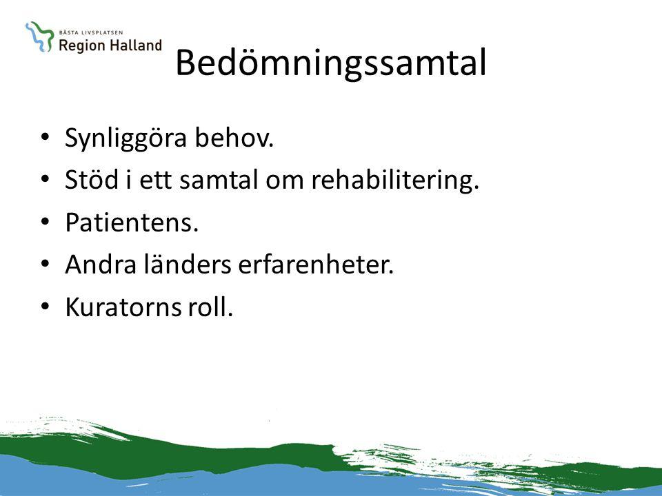 Bedömningssamtal • Synliggöra behov. • Stöd i ett samtal om rehabilitering. • Patientens. • Andra länders erfarenheter. • Kuratorns roll.