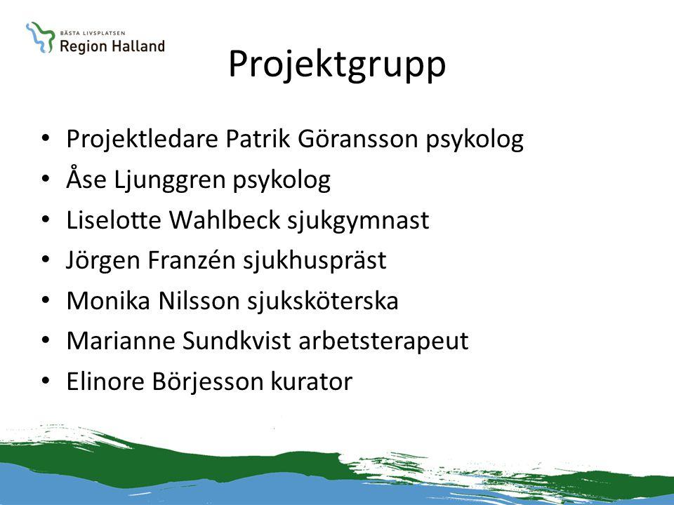 Projektgrupp • Projektledare Patrik Göransson psykolog • Åse Ljunggren psykolog • Liselotte Wahlbeck sjukgymnast • Jörgen Franzén sjukhuspräst • Monik