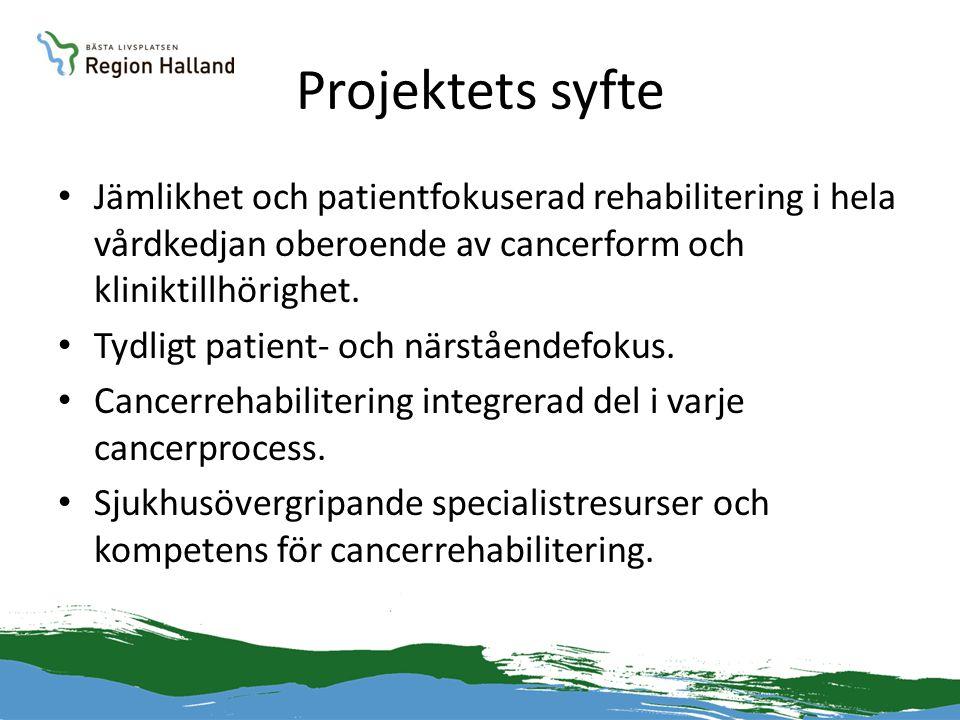 Projektets syfte • Jämlikhet och patientfokuserad rehabilitering i hela vårdkedjan oberoende av cancerform och kliniktillhörighet. • Tydligt patient-