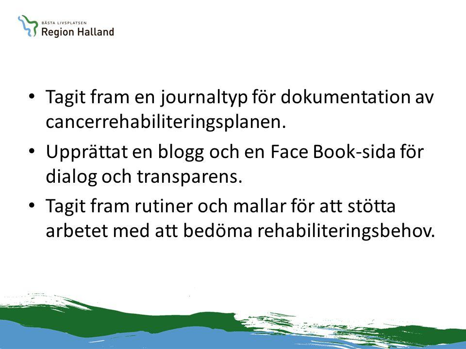 • Tagit fram en journaltyp för dokumentation av cancerrehabiliteringsplanen. • Upprättat en blogg och en Face Book-sida för dialog och transparens. •