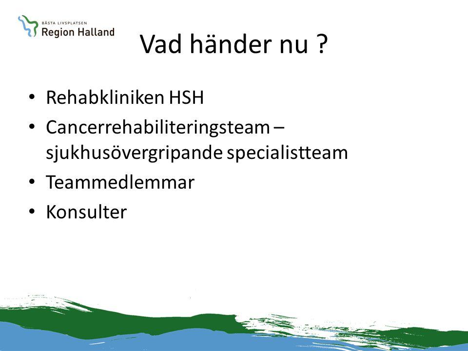 Vad händer nu ? • Rehabkliniken HSH • Cancerrehabiliteringsteam – sjukhusövergripande specialistteam • Teammedlemmar • Konsulter