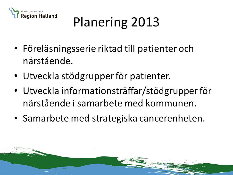 Planering 2013 • Föreläsningsserie riktad till patienter och närstående. • Utveckla stödgrupper för patienter. • Utveckla informationsträffar/stödgrup