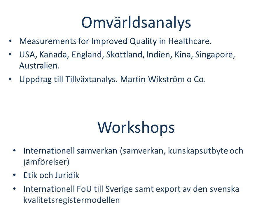 Workshops • Internationell samverkan (samverkan, kunskapsutbyte och jämförelser) • Etik och Juridik • Internationell FoU till Sverige samt export av d