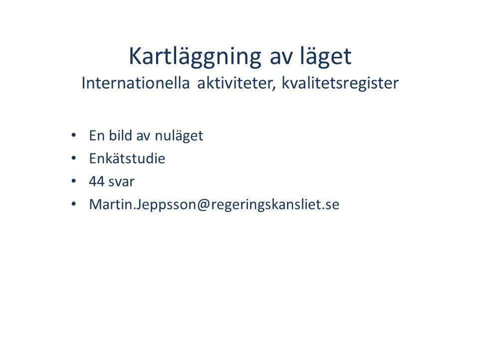 Workshops • Internationell samverkan (samverkan, kunskapsutbyte och jämförelser) • Etik och Juridik • Internationell FoU till Sverige samt export av den svenska kvalitetsregistermodellen Omvärldsanalys • Measurements for Improved Quality in Healthcare.