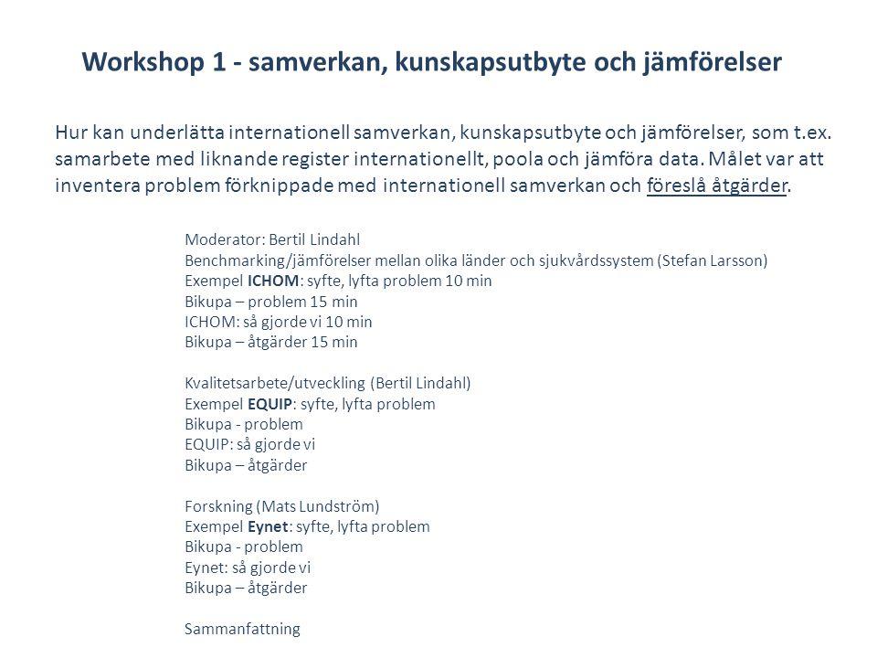 Moderator: Patrik Sundström Erfarenheter från Eynet - Mats Lundström, 10-15 min Gruppdiskussion kring erfarenheter samt och åtgärdsförslag som skulle kunna gå in i strategin Erfarenheter från Riks-Stroke - Birgitta Stegmayr, 10-15 min Gruppdiskussion kring erfarenheter samt och åtgärdsförslag som skulle kunna gå in i strategin Erfarenhet från Rikshöft - Ami Hommel, 10-15 min Gruppdiskussion kring erfarenheter samt och åtgärdsförslag som skulle kunna gå in i strategin Sammanfattning Vilka behov av ytterligare stöd m.m.