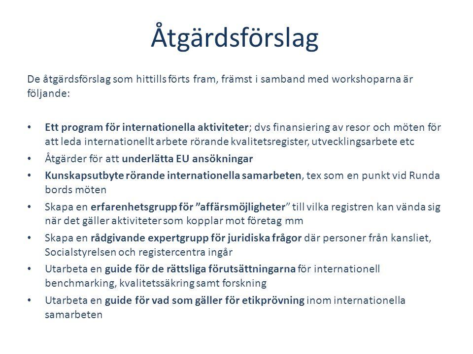 Åtgärdsförslag De åtgärdsförslag som hittills förts fram, främst i samband med workshoparna är följande: • Ett program för internationella aktiviteter