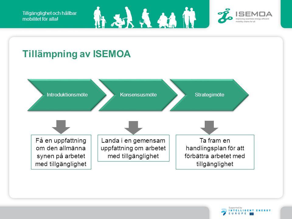 Tillgänglighet och hållbar mobilitet för alla! Tillämpning av ISEMOA IntroduktionsmöteKonsensusmöteStrategimöte Få en uppfattning om den allmänna syne
