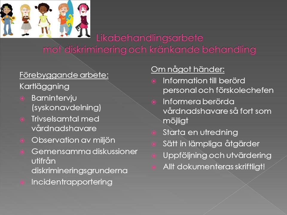 Förebyggande arbete: Kartläggning  Barnintervju (syskonavdelning)  Trivselsamtal med vårdnadshavare  Observation av miljön  Gemensamma diskussioner utifrån diskrimineringsgrunderna  Incidentrapportering Om något händer:  Information till berörd personal och förskolechefen  Informera berörda vårdnadshavare så fort som möjligt  Starta en utredning  Sätt in lämpliga åtgärder  Uppföljning och utvärdering  Allt dokumenteras skriftligt!