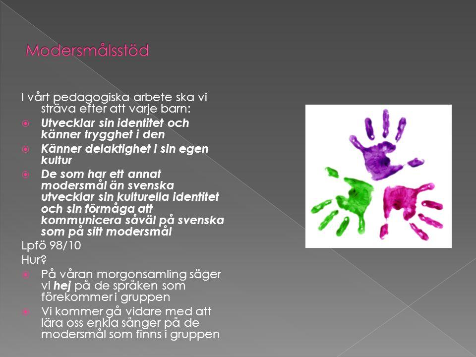 I vårt pedagogiska arbete ska vi sträva efter att varje barn:  Utvecklar sin identitet och känner trygghet i den  Känner delaktighet i sin egen kultur  De som har ett annat modersmål än svenska utvecklar sin kulturella identitet och sin förmåga att kommunicera såväl på svenska som på sitt modersmål Lpfö 98/10 Hur.