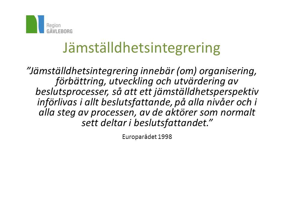 """Jämställdhetsintegrering """"Jämställdhetsintegrering innebär (om) organisering, förbättring, utveckling och utvärdering av beslutsprocesser, så att ett"""