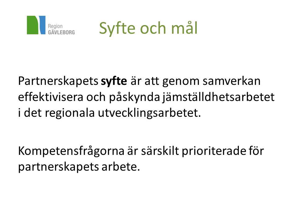 Mål och syfte Målet för partnerskapets arbete under 2014- 2015 skall vara att: Kvinnor och män, flickor och pojkar i Gävleborg har förmåga, vilja och möjlighet att omsätta kunskap till handling och att skapa morgondagens samhälle och arbetsliv.