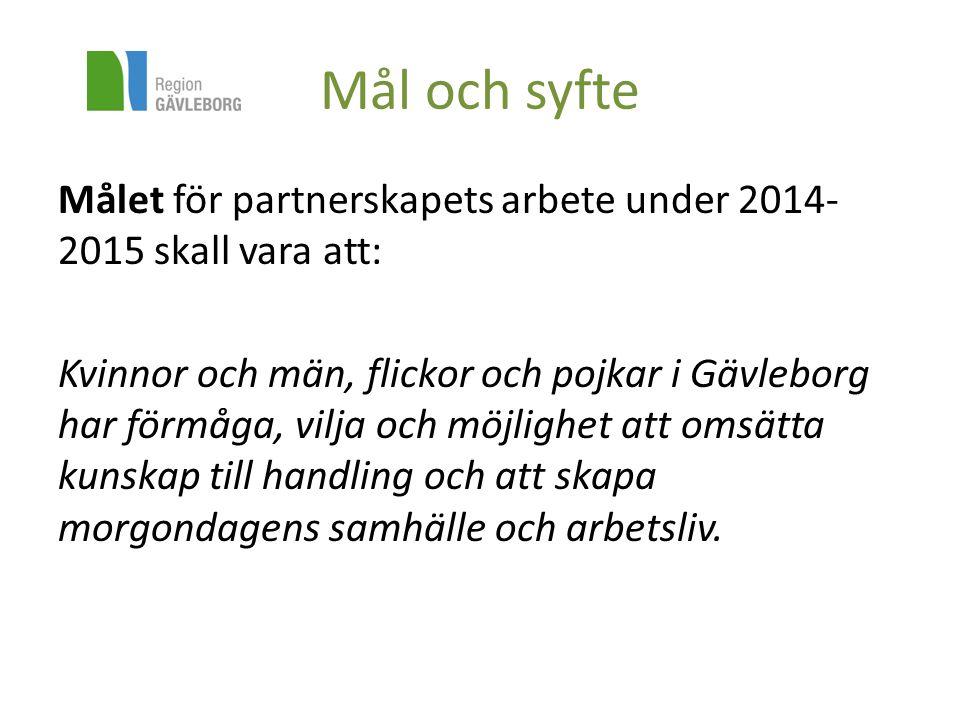 Mål och syfte Målet för partnerskapets arbete under 2014- 2015 skall vara att: Kvinnor och män, flickor och pojkar i Gävleborg har förmåga, vilja och