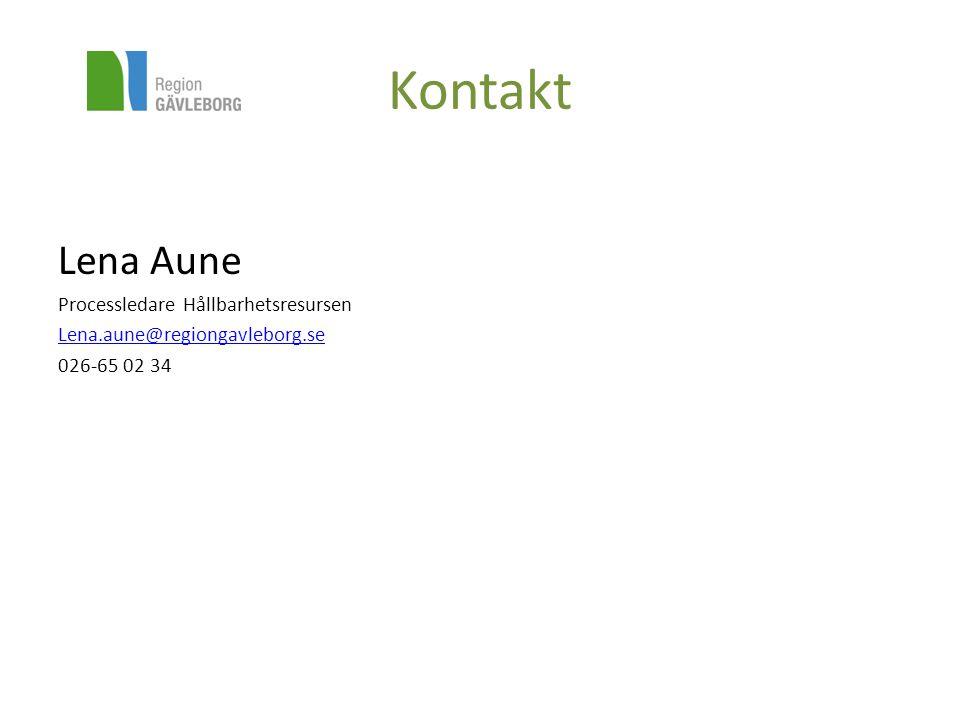 Kontakt Lena Aune Processledare Hållbarhetsresursen Lena.aune@regiongavleborg.se 026-65 02 34