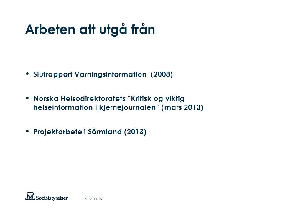 Att visa fotnot, datum, sidnummer Klicka på fliken Infoga och klicka på ikonen sidhuvud/sidfot Klistra in text: Klistra in texten, klicka på ikonen (Ctrl), välj Behåll endast text Punktlista nivå 1: Century Gothic, bold 19pt Nivå 2: Century Gothic normal 19pt Rubrik: Century Gothic, bold 33pt Arbeten att utgå från 2013-11-27 • Slutrapport Varningsinformation (2008) • Norska Helsodirektoratets Kritisk og viktig helseinformation i kjernejournalen (mars 2013) • Projektarbete i Sörmland (2013)