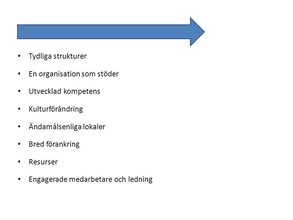 • Tydliga strukturer • En organisation som stöder • Utvecklad kompetens • Kulturförändring • Ändamålsenliga lokaler • Bred förankring • Resurser • Eng