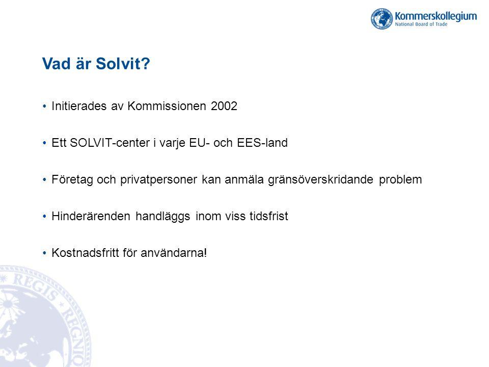 Vad är Solvit? •Initierades av Kommissionen 2002 •Ett SOLVIT-center i varje EU- och EES-land •Företag och privatpersoner kan anmäla gränsöverskridande